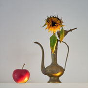 pitcher with sunflower and apple